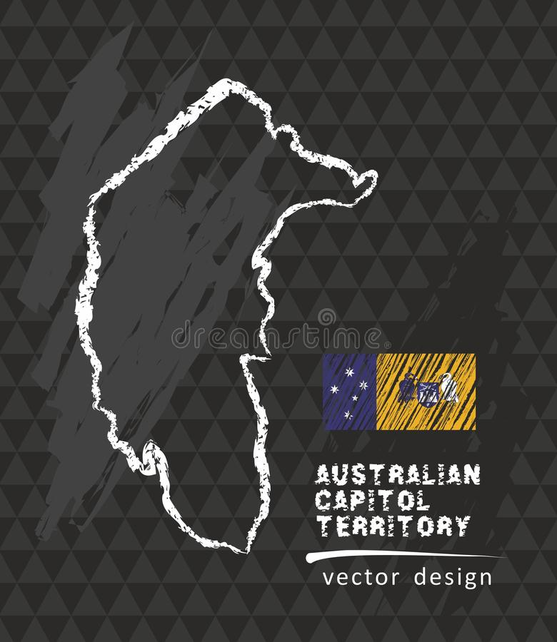 Map of Australian Capital Territory, Chalk sketch vector illustration royalty free illustration