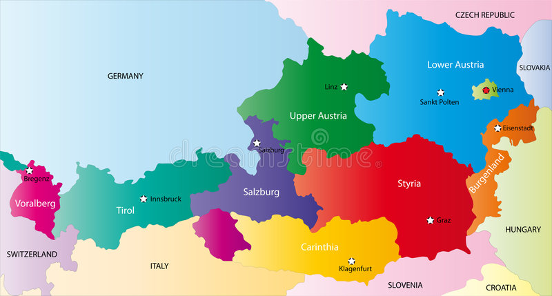 Map Of Austria Royalty Free Stock Images