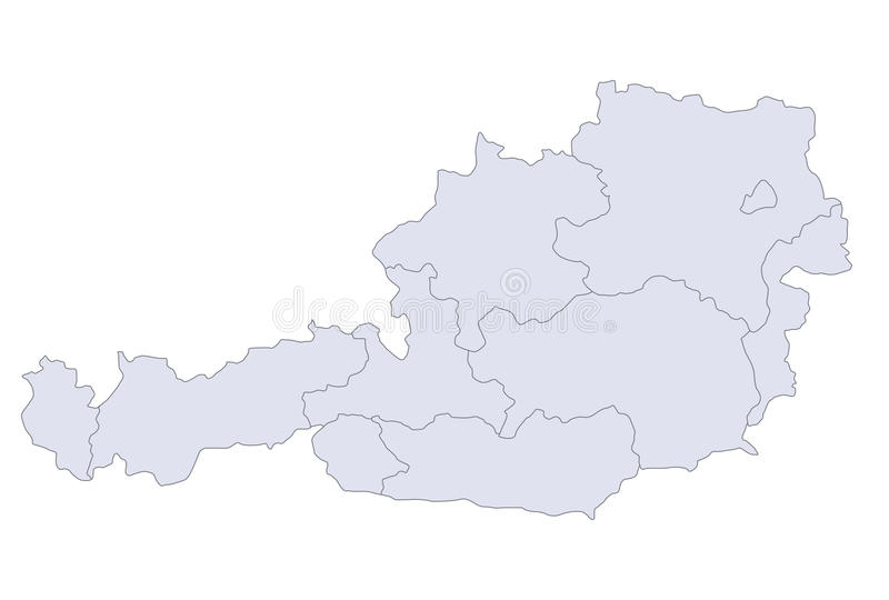Map Austria. A stylized map of Austria showing the different provinces vector illustration