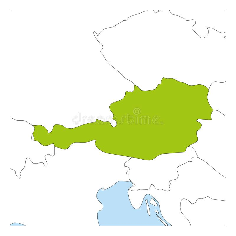 Map of Austria green highlighted with neighbor countries stock illustration
