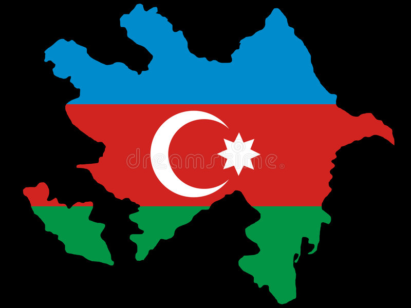 Map of Azerbaijan. And flag illustration royalty free illustration