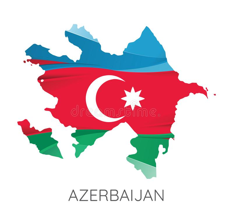 Map of Azerbaijan. With Flag As Texture Isolated On Grey Background. Vector Illustration vector illustration