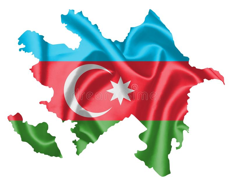 Azerbaijan Map with Flag. Azerbaijan map with waving flag on satin texture isolated on white royalty free illustration