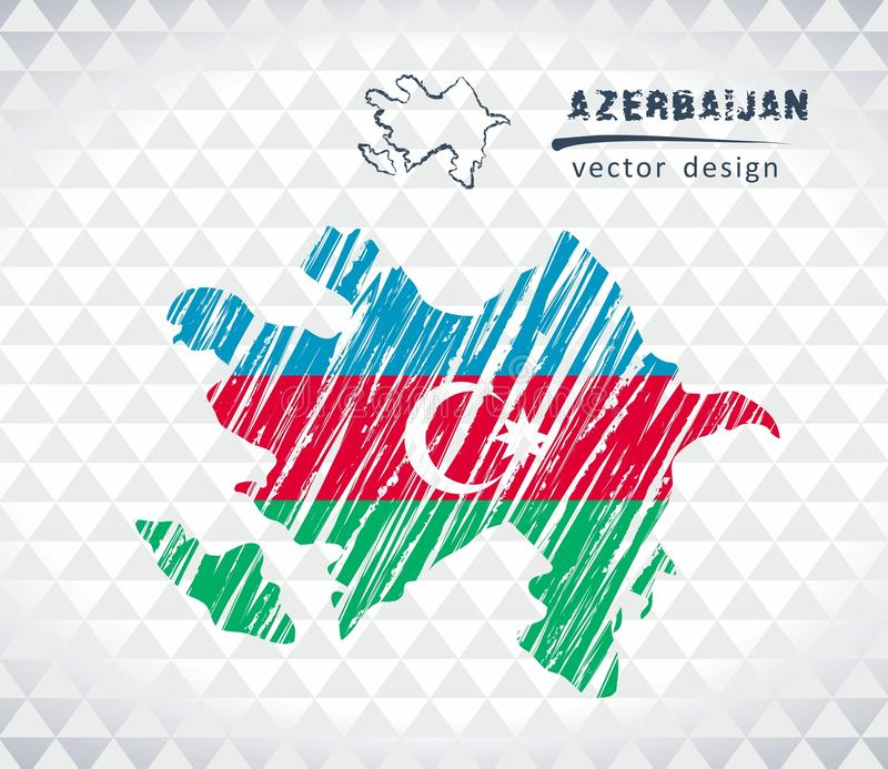 Map of Azerbaijan with hand drawn sketch pen map inside. Vector illustration. Vector sketch map of Azerbaijan with flag, hand drawn chalk illustration. Grunge royalty free illustration