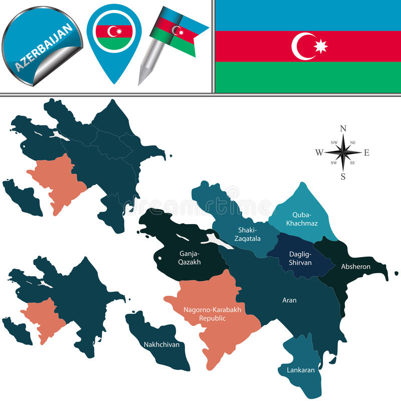 Map Of Azerbaijan With Nagorno Karabakh Rep Stock Vector