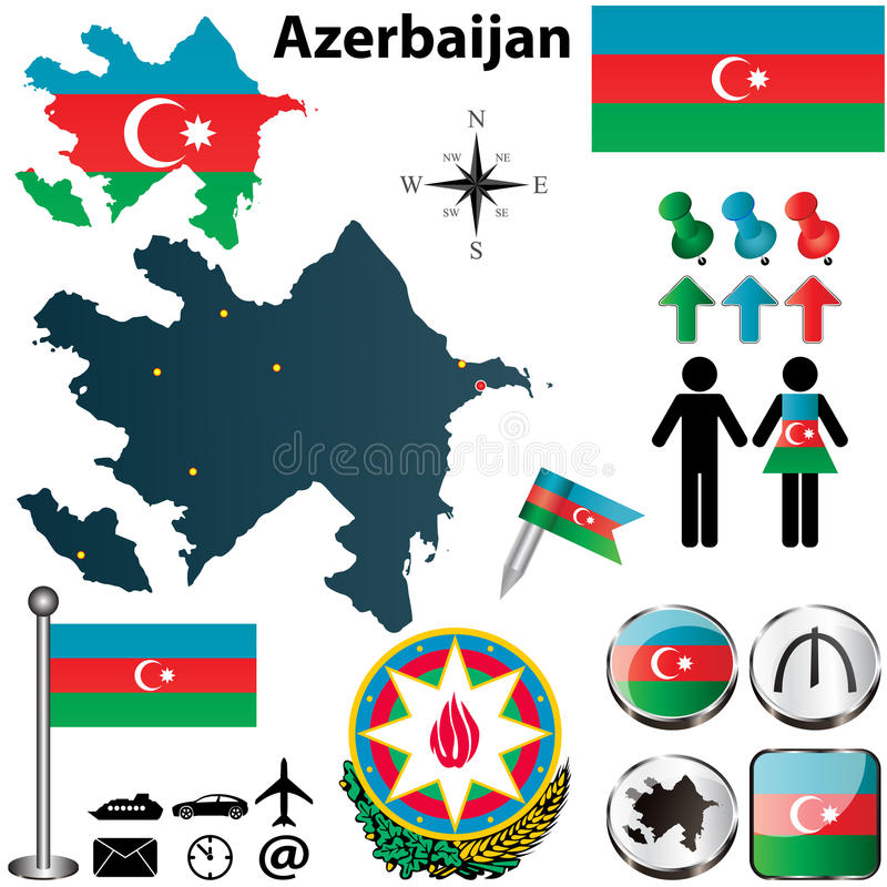 Map of Azerbaijan. Vector of Azerbaijan set with detailed country shape with region borders, flags and icons royalty free illustration