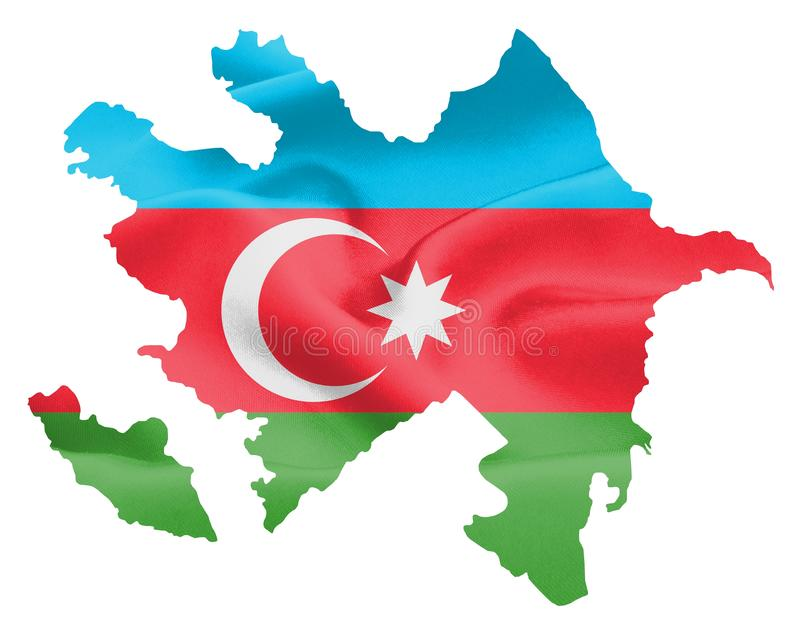 Azerbaijan Map with Flag. Azerbaijan map with waving flag on satin texture isolated on white vector illustration