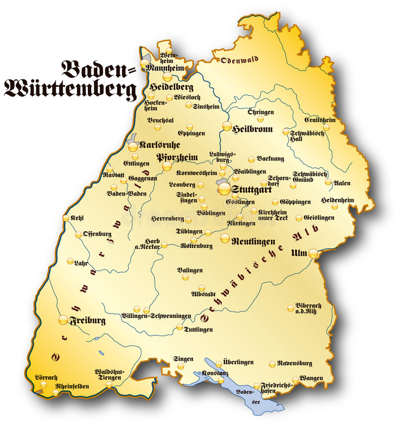 Map of BadenWuerttemberg stock illustration Illustration of