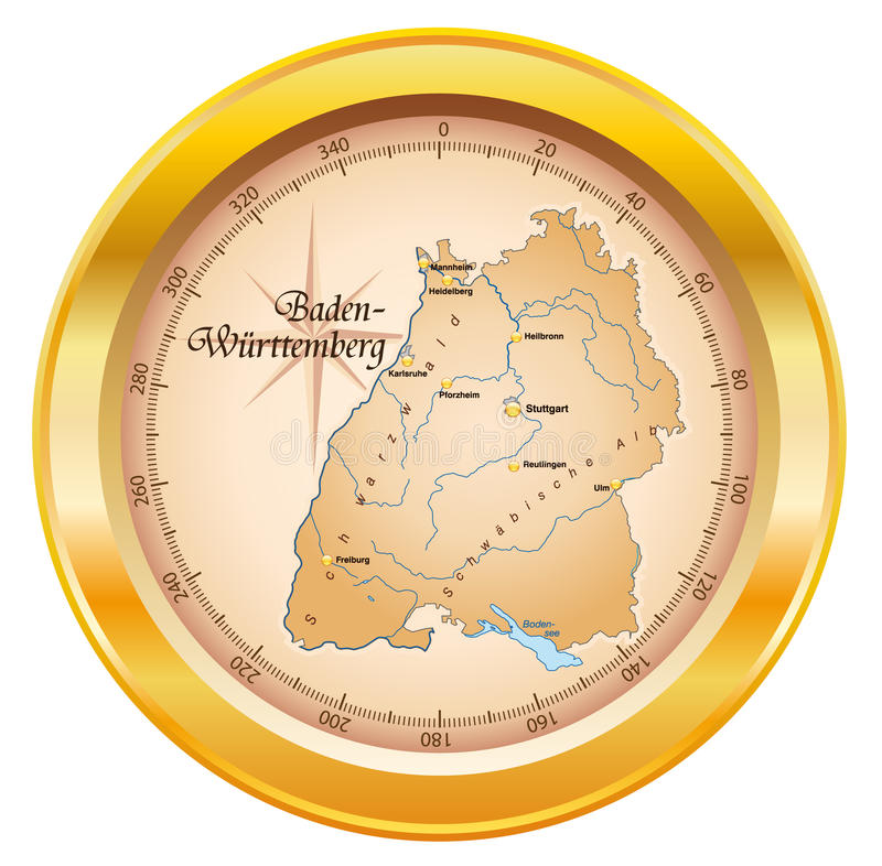 Map of Baden-Wuerttemberg as a compass vector illustration
