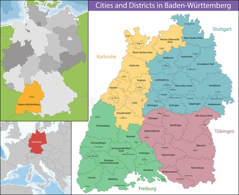 Map of BadenWurttemberg stock vector Illustration of