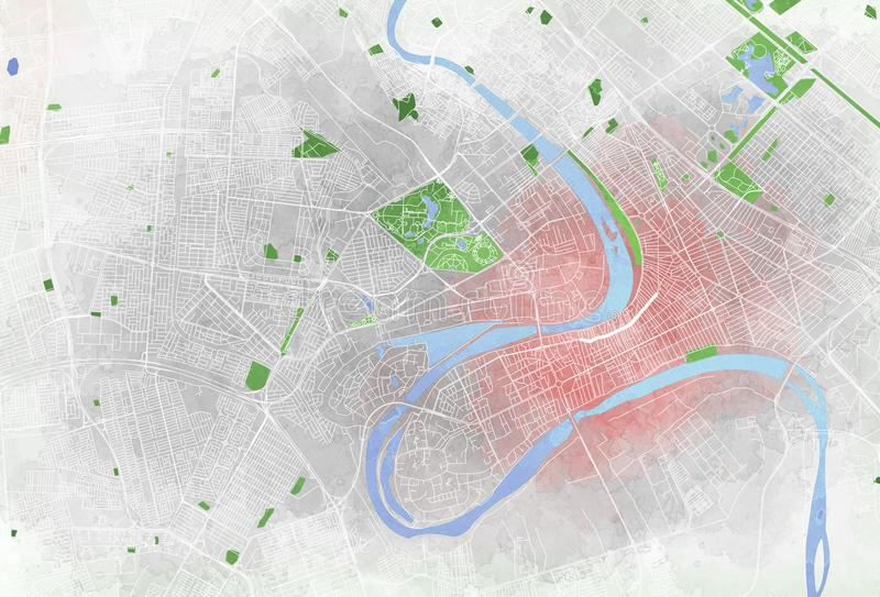 Map of Baghdad, satellite view, city. Streets parks and rivers royalty free illustration