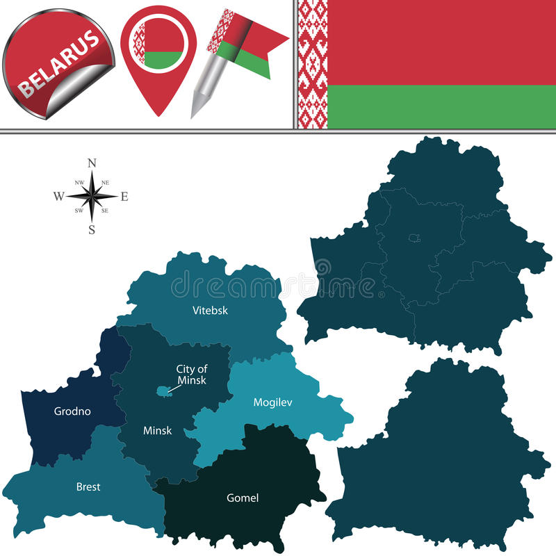 Map of Belarus with named regions. Vector map of Belarus with named regions and travel icons royalty free illustration