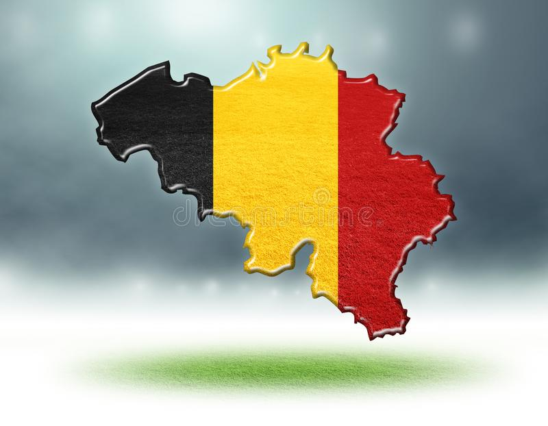 Map of belgium design with grass texture of soccer fields. Belgium map colour design with grass texture of soccer fields,3d rendering stock illustration