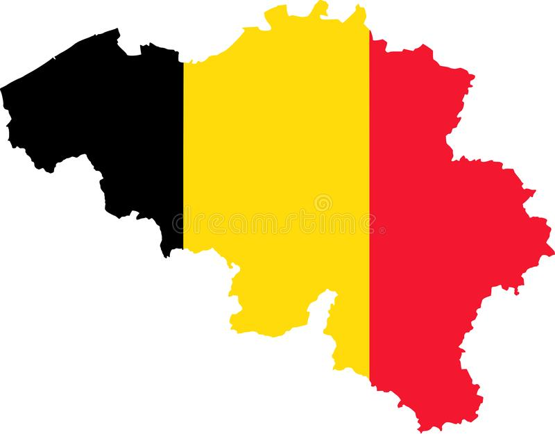 Map of Belgium with flag vector illustration
