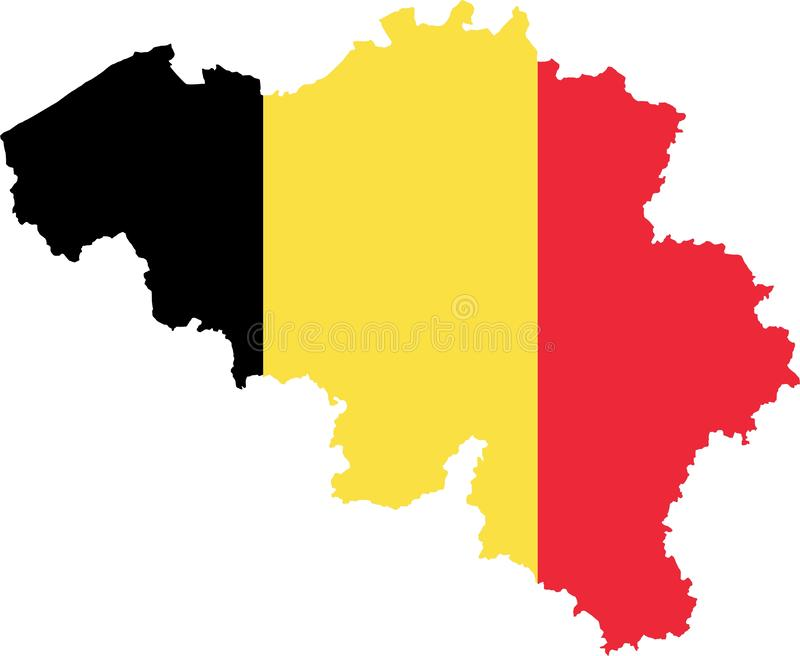 Belgium Map with Flag stock illustration