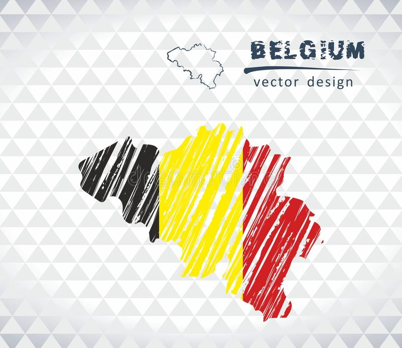 Map of Belgium with hand drawn sketch map inside. Vector illustration vector illustration