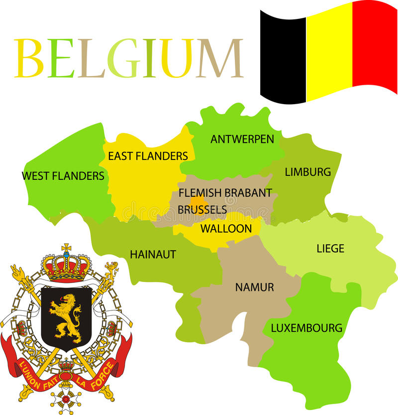 Map of Belgium with its provinces. stock illustration