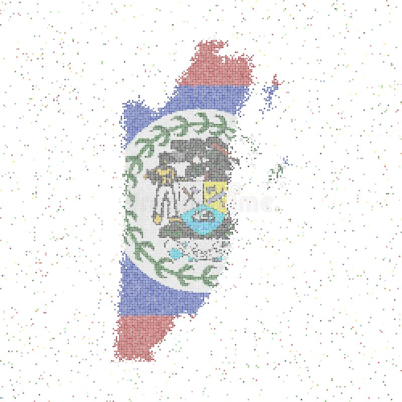 Map of Belize. Mosaic style map with flag of Belize. Vector illustration royalty free illustration