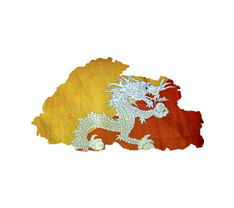 Map of Bhutan isolated royalty free stock photos