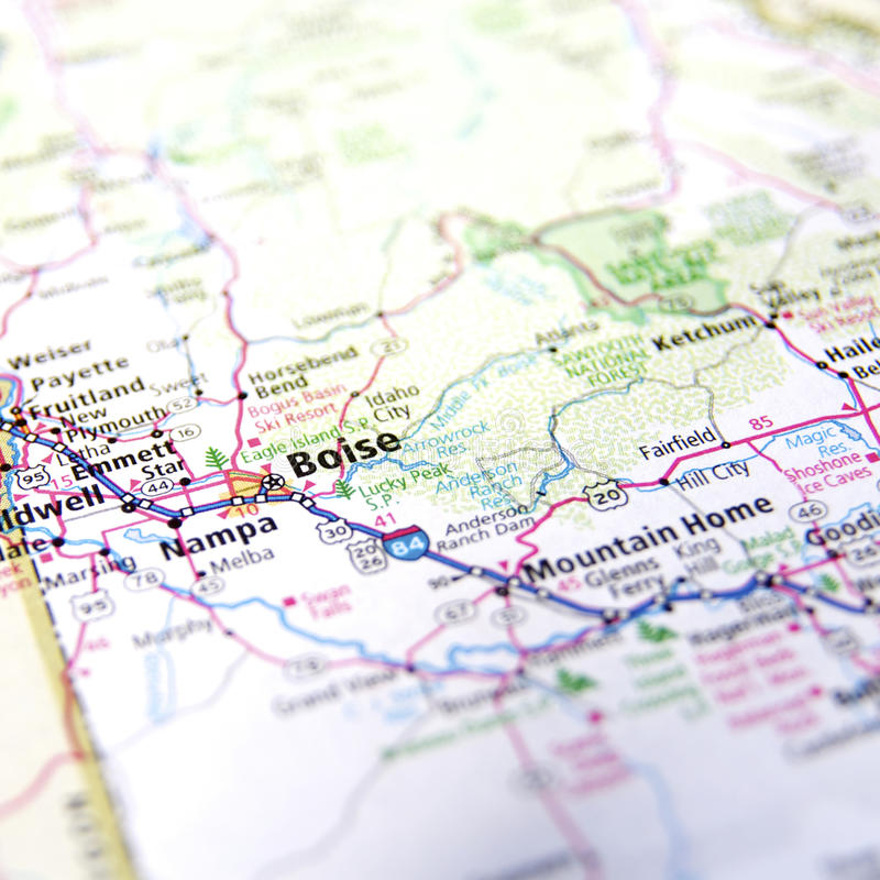 Map of Boise. A map with the focus on Boise City and Nampa metropolitan area in Idaho royalty free stock photography