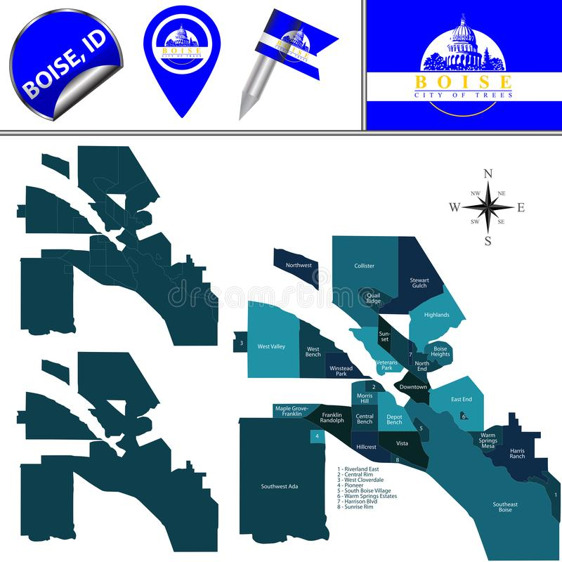 Map of Boise, ID with Districts. Vector map of Boise, Idaho of the United States with named districts and travel icons stock illustration