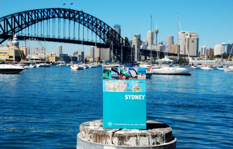 Map book of Sydney, Lavander Bay, Australia. SYDNEY, AUSTRALIA: View on Sydney City Center, Harbor Bridge, Luna Park, boats and yachts from Lavender Bay. Sydney stock photography