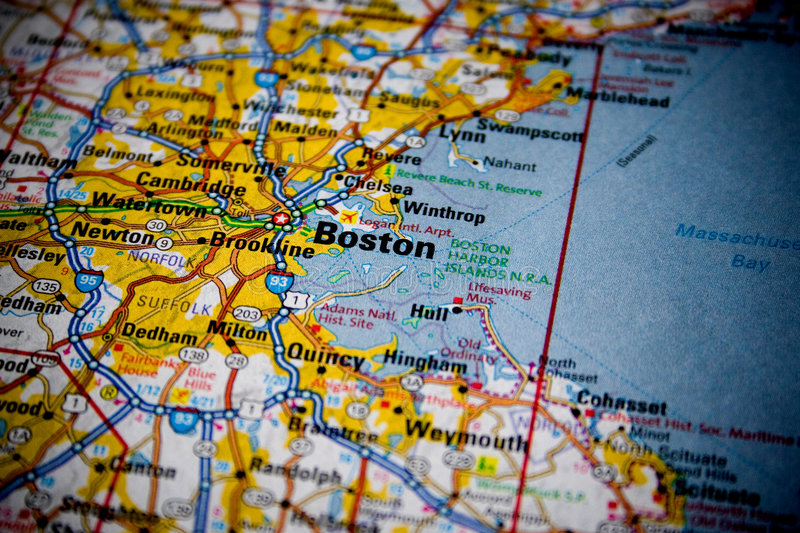 Map of Boston. Macro picture of a map of Boston with slight vignette