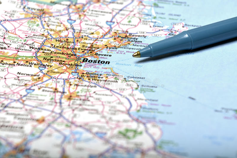 Map of Boston and Pen Pointing to Destination. Detailed closeup map of Boston and pen pointing to destination for travel stock photos