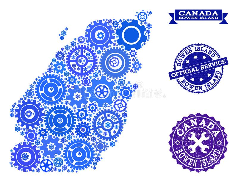 Mosaic Map of Bowen Island with Gears and Grunge Stamps for Service. Map of Bowen Island created with blue engine symbols, and isolated grunge seals for official royalty free illustration