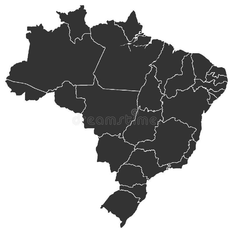 Map of Brazi. Detailed map of Brazil in high resolution. Vector illustration stock illustration