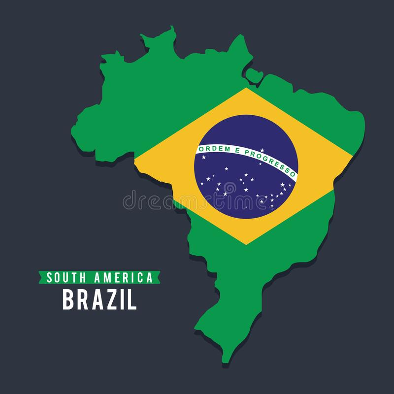 Map of Braziil. Map of South America. Political map of Brazil with flag. royalty free illustration