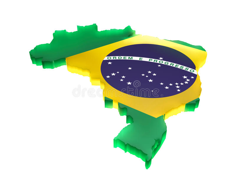 Map the Brazil. A 3D Brazil map with flag of the Federative Republic of Brazil. Completely isolated background