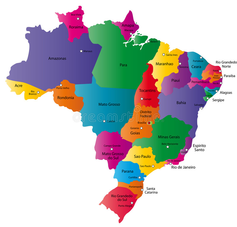 Map of Brazil. Brazil map designed in illustration with 26 states colored in bright colors and with the main cities. Neighbouring countries are in an additional