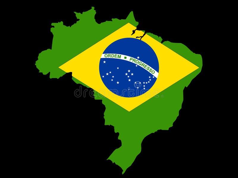 Map of Brazil and Brazilian flag vector illustration
