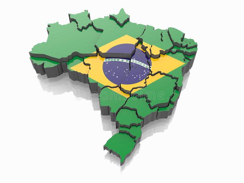 Map of Brazil in Brazilian flag colors royalty free illustration