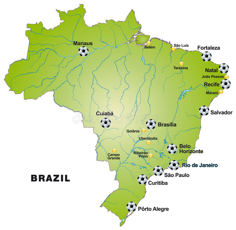 Map Of Brazil With Football Stadiums In Green Stock Vector