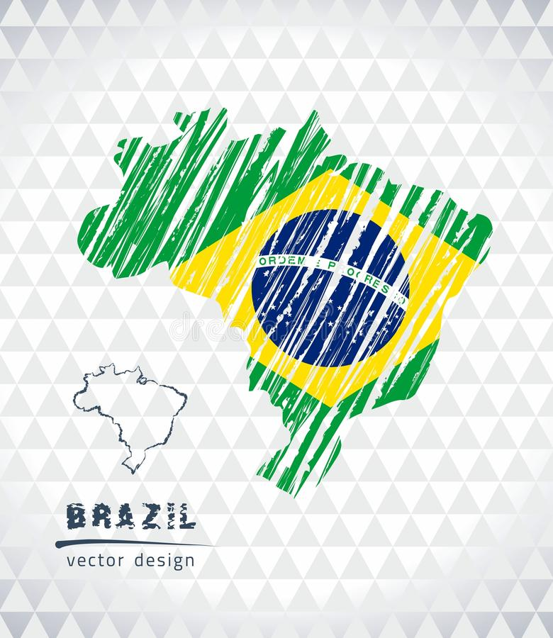 Map of Brazil with hand drawn sketch pen map inside. Vector illustration royalty free illustration