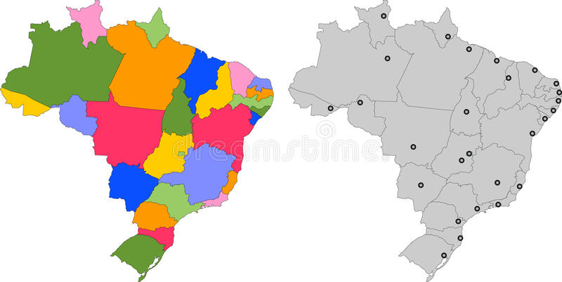 Map Of Brazil With States Splited 27 Illustration Stock Vector