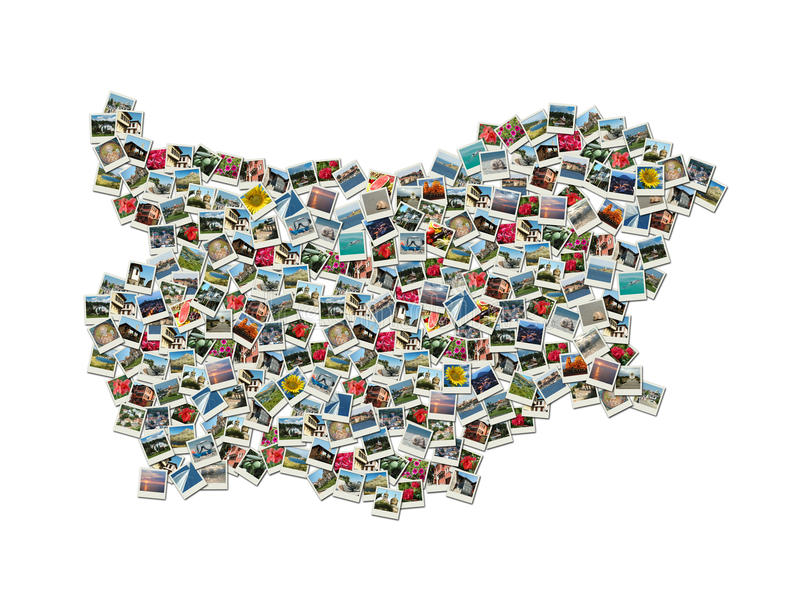 Map of Bulgaria - collage made of travel photos stock photography