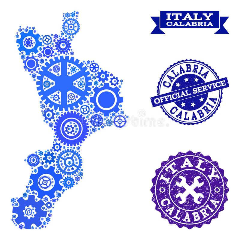 Mosaic Map of Calabria Region with Gear Wheels and Rubber Stamps for Services. Map of Calabria region composed with blue gear symbols, and isolated grunge seals stock illustration