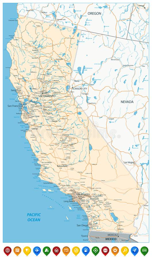 Map Of California State And Colored Map Icons Stock Vector ... Detailed Map Of California on
