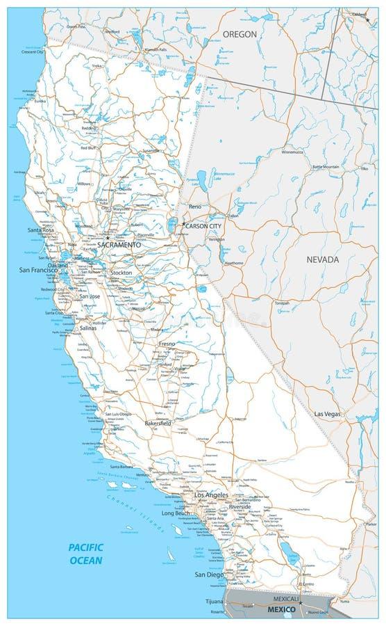 Map Of California Interstates.California Interstate Highway Map Stock Vector Illustration Of