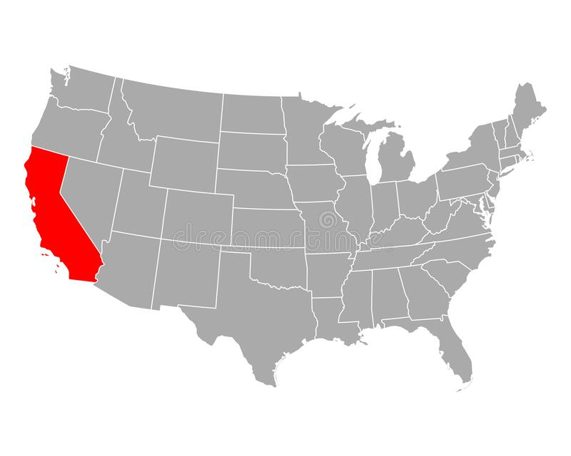 Map of California in USA vector illustration
