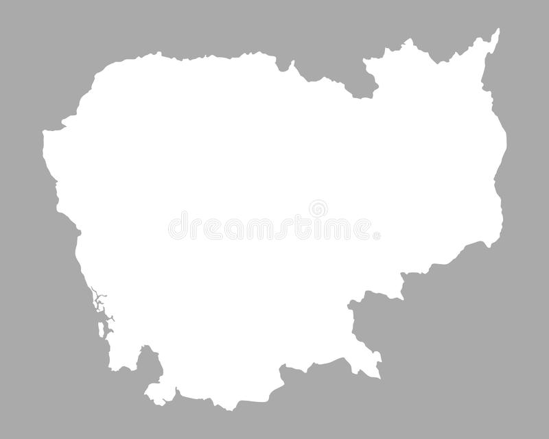 Map of Cambodia. Detailed and accurate illustration of map of Cambodia vector illustration
