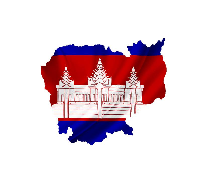 Map of Cambodia with waving flag isolated on white royalty free stock image