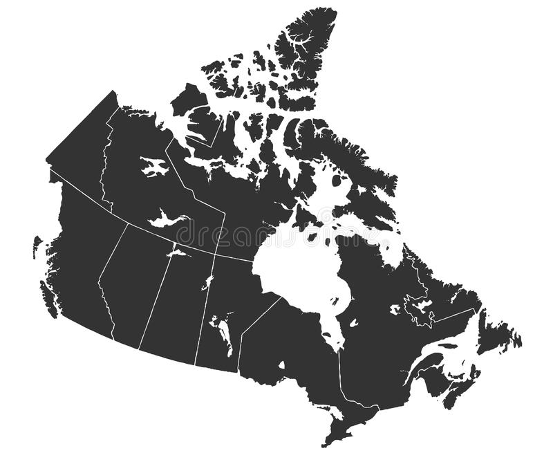 Map of Canada in high resolution stock illustration