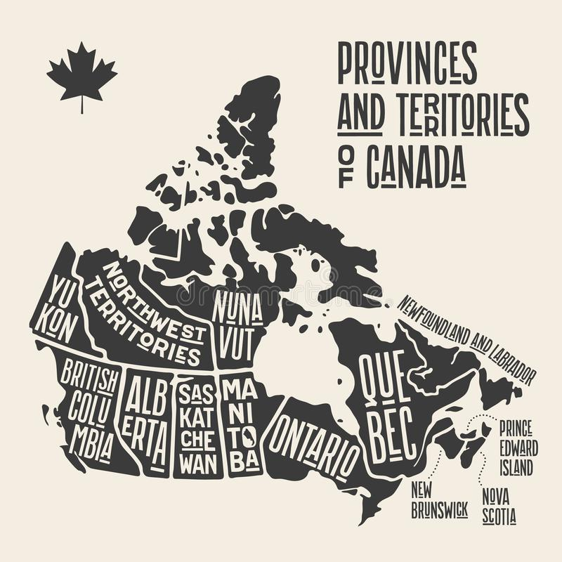 Map Canada. Poster map of provinces and territories of Canada. Black and white print map of Canada for t-shirt, poster or geographic themes. Hand-drawn black vector illustration