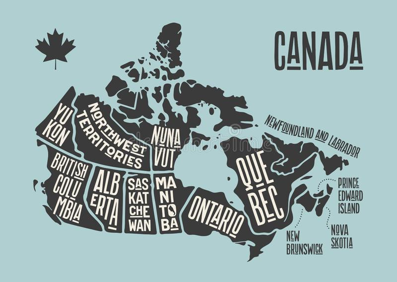Map Canada. Poster map of provinces and territories of Canada. Black and white print map of Canada for t-shirt, poster or geographic themes. Hand-drawn black royalty free illustration