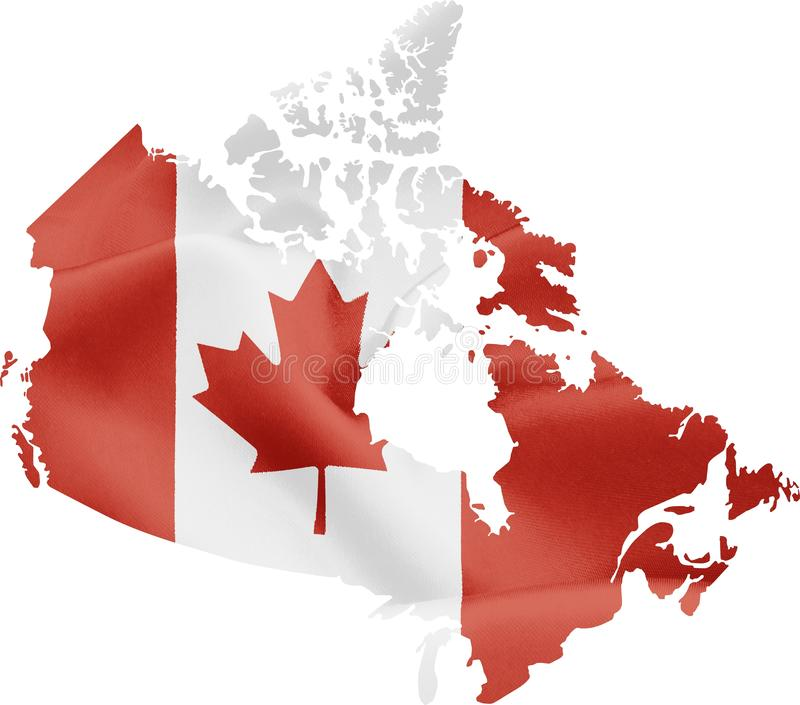 Map of Canada with Flag stock image