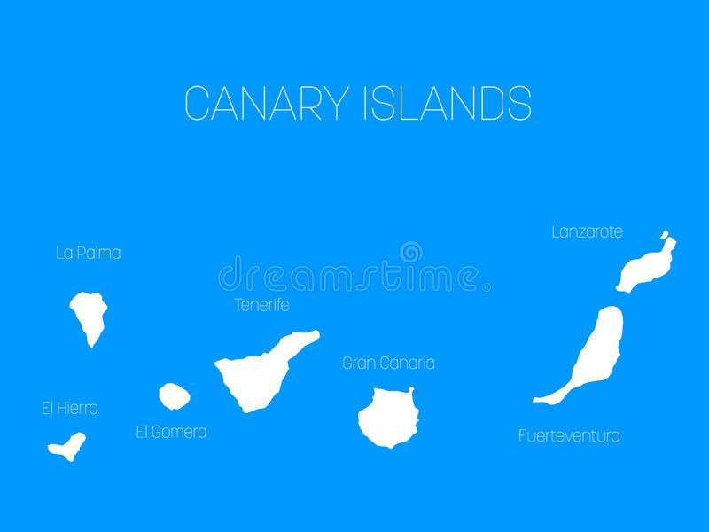 Map Of Canary Islands Spain With Labels Of Each Island El Hierro